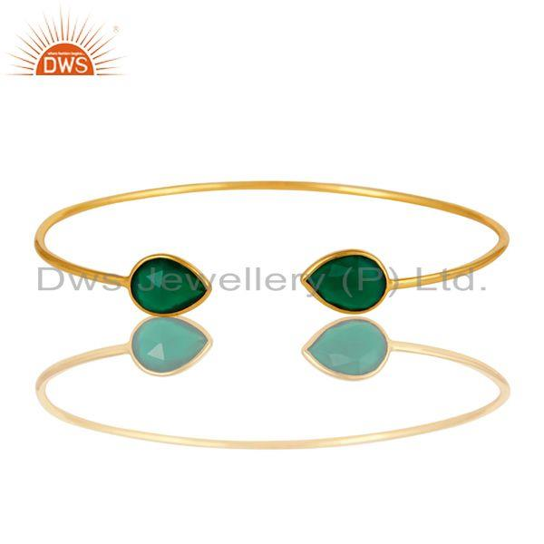 Natural green onyx gemstone sterling silver adjustable bangle with gold plated