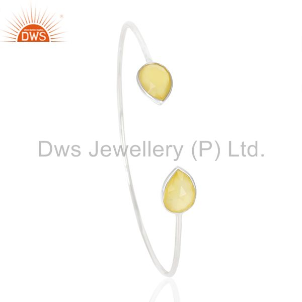 Yellow Chalcedony Adjustable Openable White Rhodium 92.5 Sterling Silver Bangle