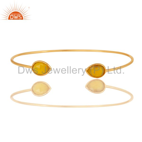 Faceted Dyed Yellow Chalcedony 18K Gold Over Sterling Silver Adjustable Bangle