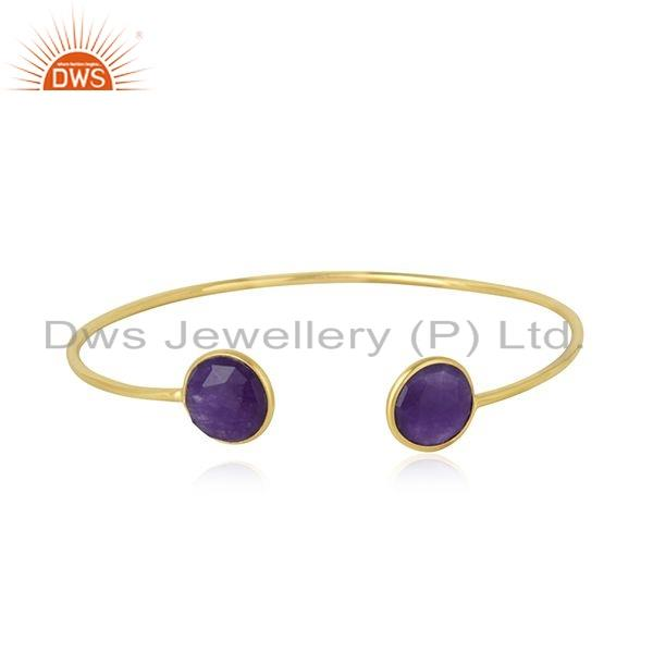 Purple Aventurine Gemstone Gold Plated 925 Silver Cuff Bangle Jewelry