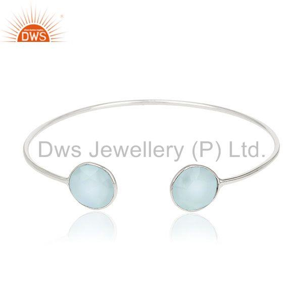 Blue Chalcedony Gemstone Sterling Silver Cuff Bracelet Manufacturers