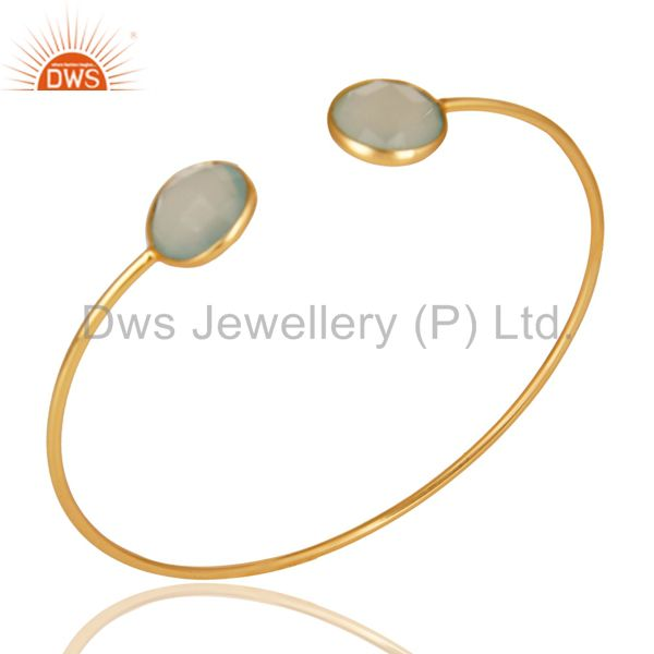 Faceted dyed chalcedony 18k gold over 925 sterling silver adjustable bangle