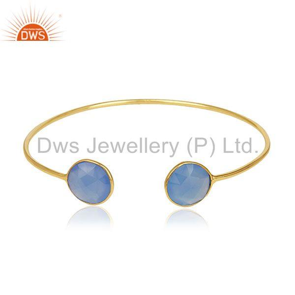 Gold Plated 925 Silver Blue Chalcedony Gemstone Cuff Bracelet Wholesale