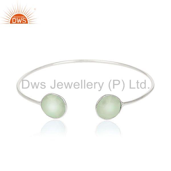 Handmade Sterling Silver Chalcedony Gemstone Cuff Bracelet Wholesale Suppliers