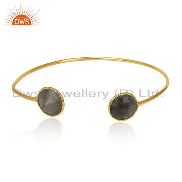 925 silver 18k gold plated labradorite gemstone adjustable cuff bracelet jewelry