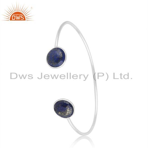 Lapia Lazuli Gemstone 92.5 Fine Silver Simple Cuff Bracelet Manufacturer India