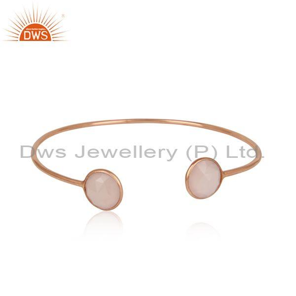Handmade Rose Gold on Silver Rose Chalcedony Designer Cuff