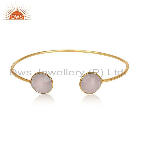 Handmade 18k Gold Plated 925 Silver Chalcedony Gemstone Cuff Bracelet Wholesale