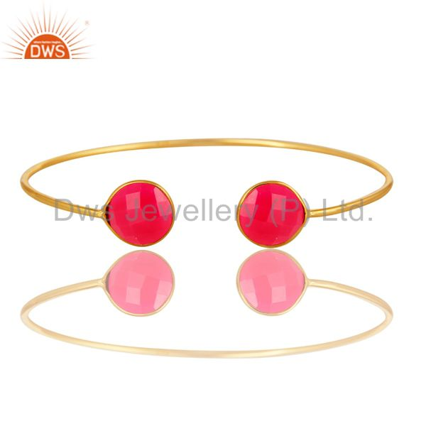 Dyed Pink Chalcedony Sterling Silver Adjustable Bangle With Yellow Gold Plated
