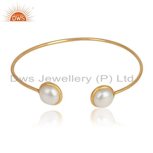 Natural Pearl Gemstone Womens 18k Gold Plated Sleek Cuff Bangles