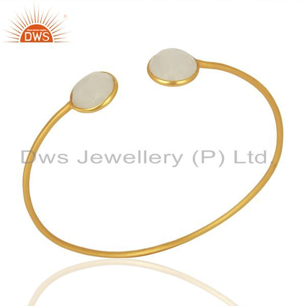 Rainbow Moonstone Yellow Gold Plated Sterling Silver Cuff Bangle