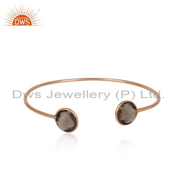 Handmade Rose Gold on Silver Smoky Designer Cuff