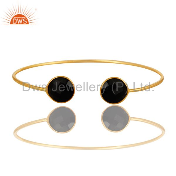 Faceted Black Onyx Gemstone Adjustable Sleek Bangle In 14K Gold On Sterling Silv