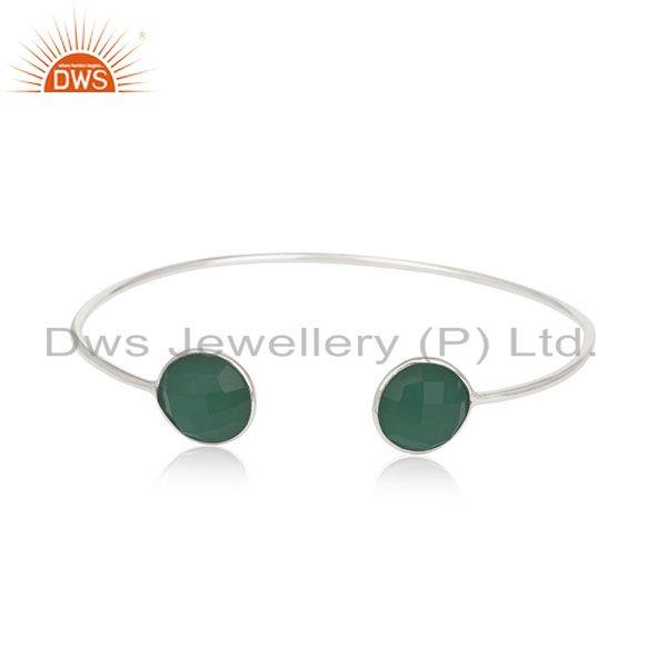 Handmade 925 Silver Green Onyx Gemstone Cuff Bracelet Manufacturer from India