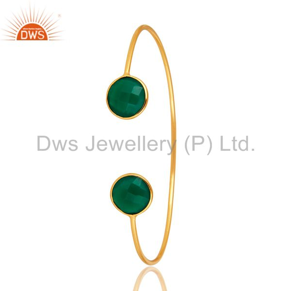 Bezel-Set Green Onyx Gold Plated Sterling Silver Sleek Adjustable Bangle