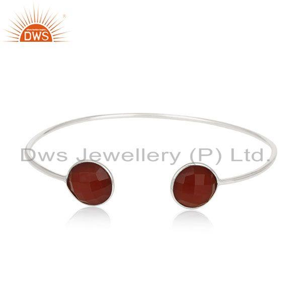 Red onyx gemstone 925 sterling silver adjustable cuff bracelet manufacturer
