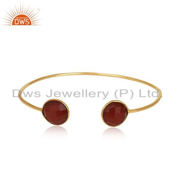 Red onyx gemstone 925 silver gold plated cuff bracelet manufacturer