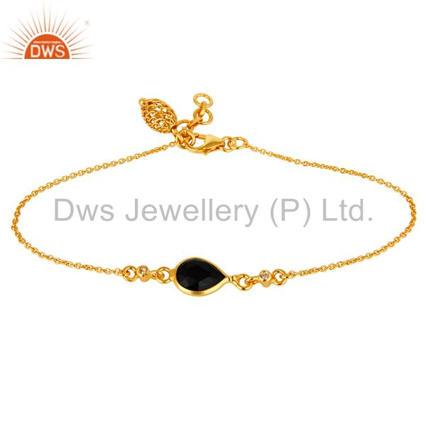 14K Yellow Gold Plated Sterling Silver Black Onyx And White Topaz Chain Bracelet