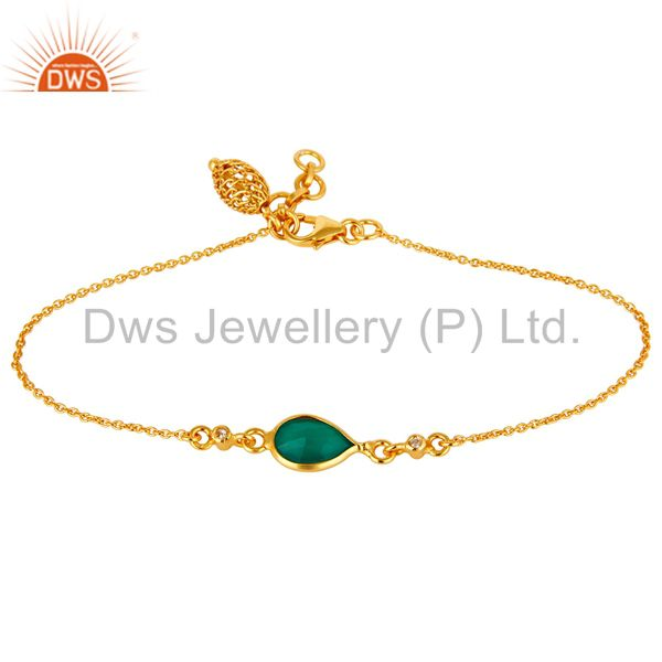 18K Yellow Gold Plated Sterling Silver Green Onyx And White Topaz Chain Bracelet