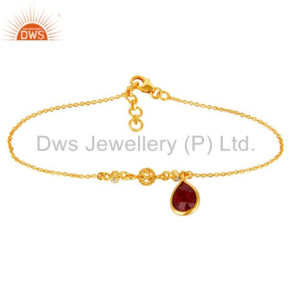 18K Yellow Gold Plated Sterling Silver Ruby And White Topaz Chain Bracelet