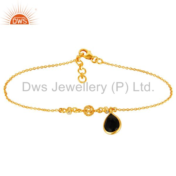 18K Gold Plated Sterling Silver White Topaz And Black Onyx Charms Bracelet