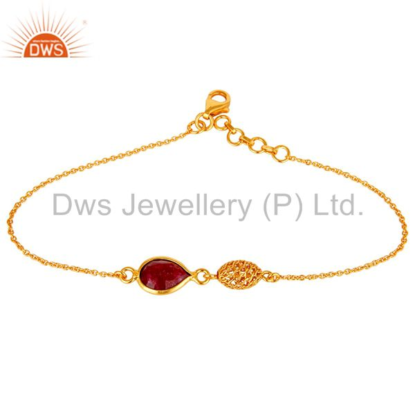18K Yellow Gold Plated Sterling Silver Natural Ruby Designer Chain Bracelet