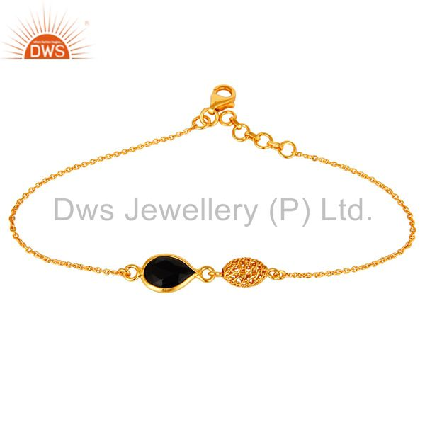 18K Yellow Gold Plated Sterling Silver Black Onyx Designer Chain Bracelet