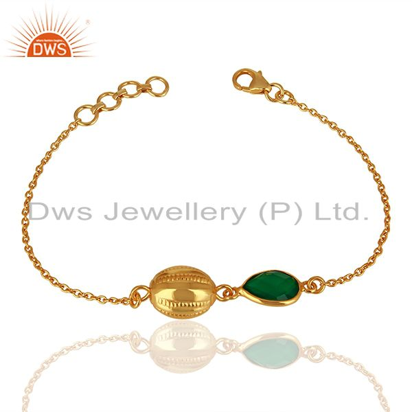 14K Yellow Gold Plated Sterling Silver Green Onyx Designer Chain Bracelet