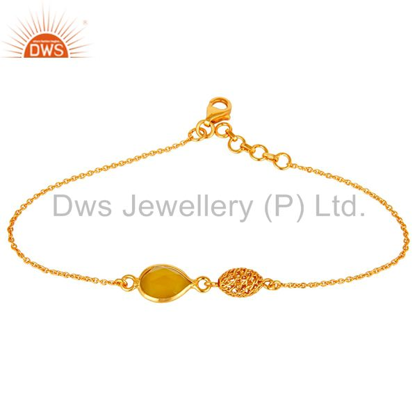 18K Yellow Gold Plated Sterling Silver Yellow Chalcedony Designer Chain Bracelet