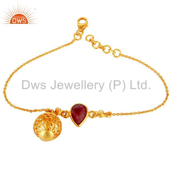 18K Yellow Gold Plated Sterling Silver Ruby And White Topaz Ball Chain Bracelet