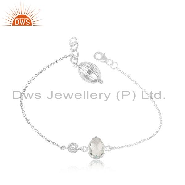 White Rhodium Plated Silver Blue Topaz Gemstone Chain Bracelet Jewelry