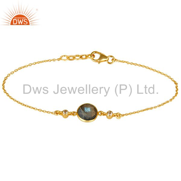 14K Yellow Gold Plated Sterling Silver Labradorite & White Topaz Chain Bracelet