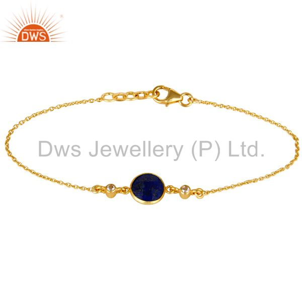 14K Yellow Gold Plated Sterling Silver Lapis Lazuli & White Topaz Chain Bracelet
