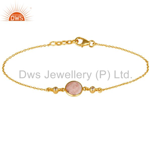 14K Yellow Gold Plated Sterling Silver Pink Opal And White Topaz Chain Bracelet