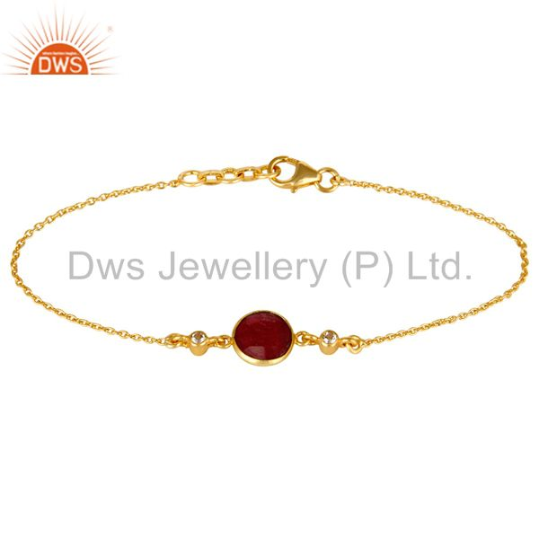 14K Yellow Gold Plated Sterling Silver Ruby And White Topaz Gemstone  Bracelet