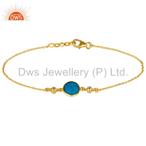 14K Yellow Gold Plated Sterling Silver Turquoise And White Topaz Chain Bracelet