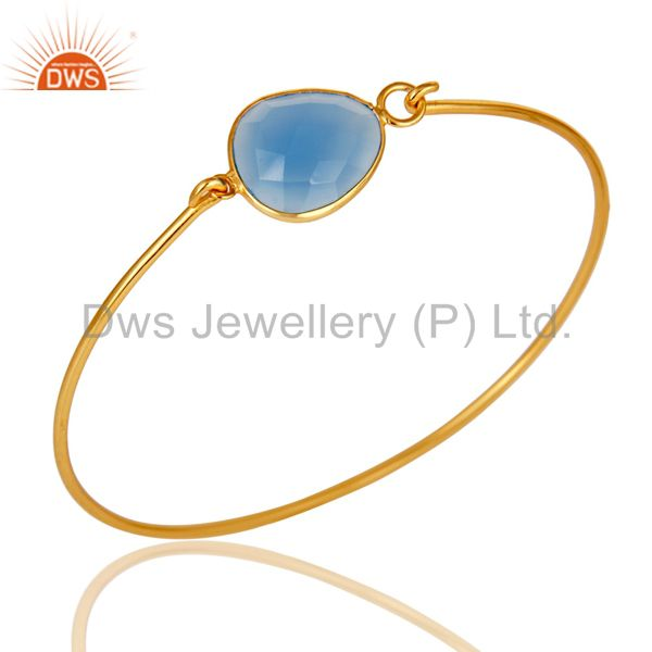 Chalcedony Gemstone with 18K Gold Plated Sterling Silver Openable Bangle