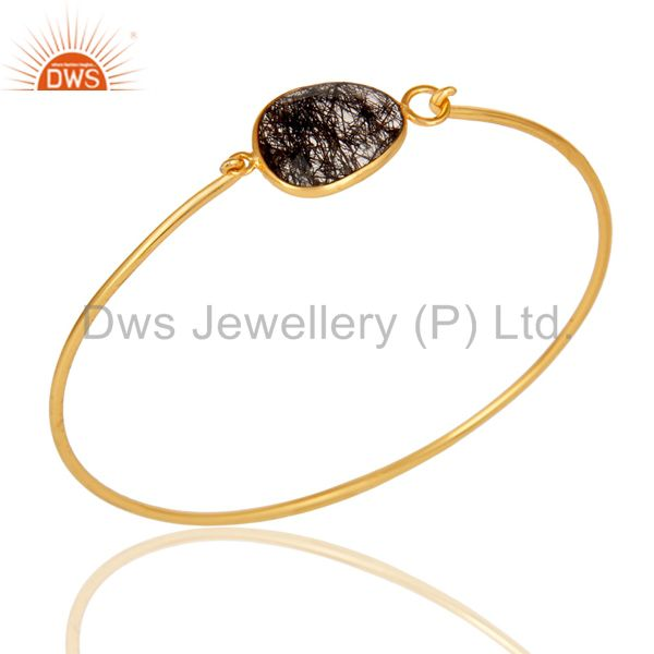 Black rutile 18k gold plated sterling silver openable bangle