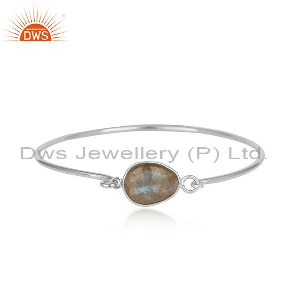Labradorite rhodium plated sterling silver openable bangle