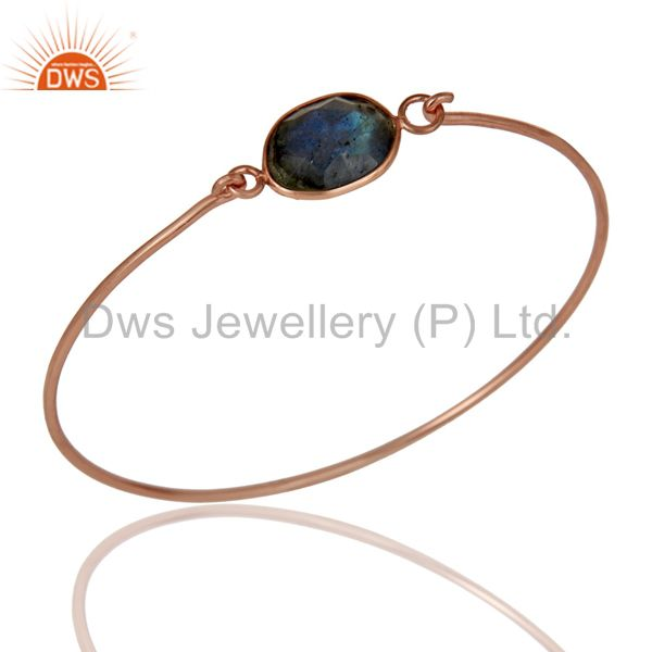 Labradorite 18K Gold Plated Sterling Silver Openable Bangle