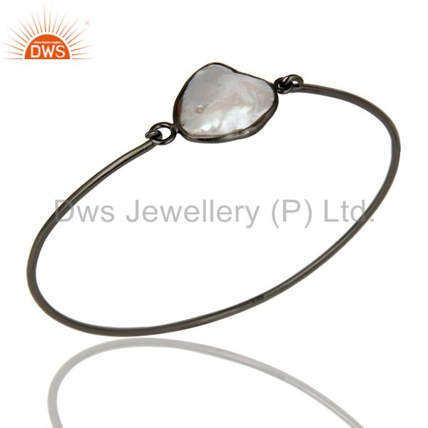 Natural White Pearl Sterling Silver Black Oxidized Handmade Openable Bangle