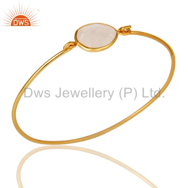Rainbow moonstone 925 silver gold over handmade openable bangle