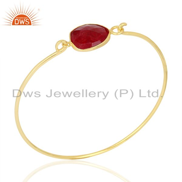 Ruby Corundum Sterling Silver Gold Plated Handmade Openable Bangle