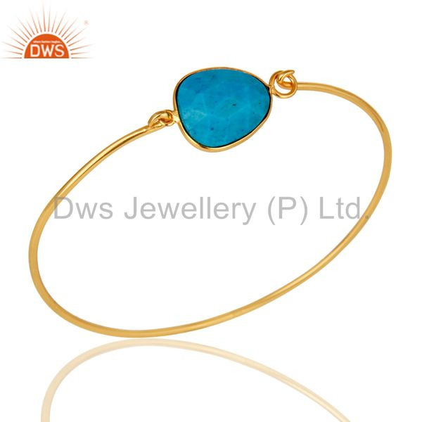 Turquoise Matrix Sterling Silver Gold Plated Handmade Openable Bangle