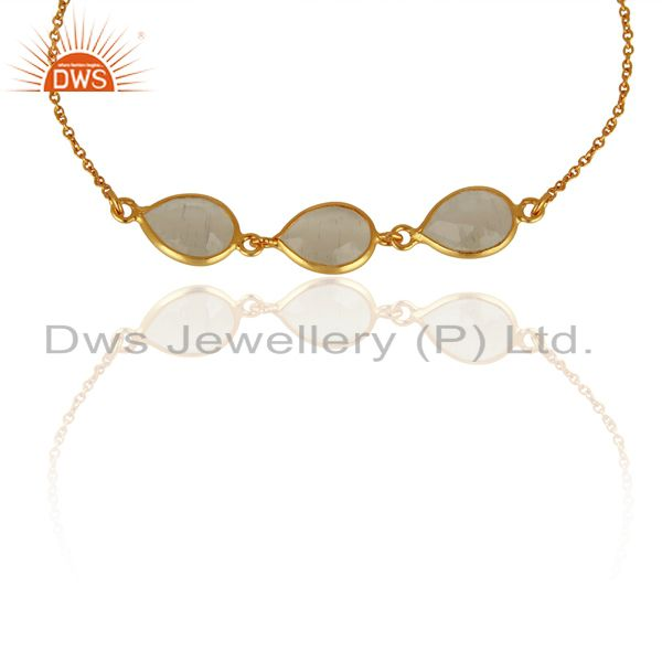 White Moonstone Chain Link 18K Gold Plated 925 Sterling Silver Bracelet Jewelry