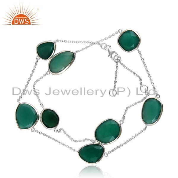 Green Onyx Gemstone Sterling Fine Silver Chain Bracelet Jewelry