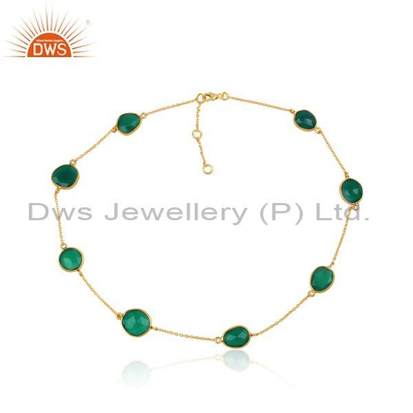 Green Onyx Set Sterling Silver Gold Plated Chain Bracelet