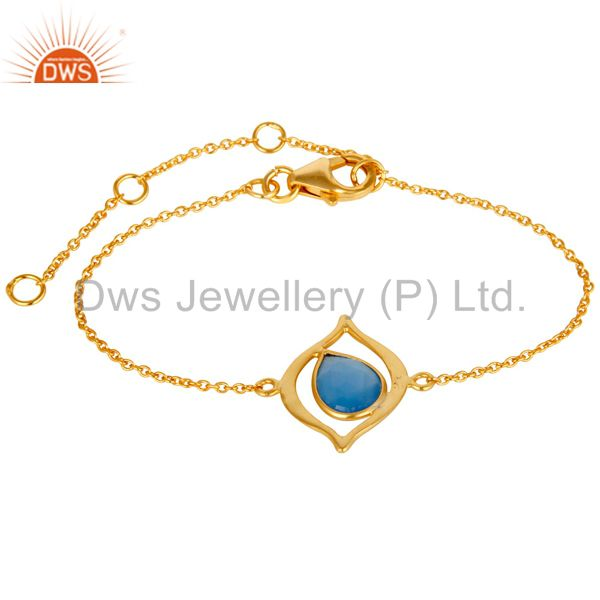 18K Yellow Gold Plated 925 Silver Blue Chalcedony Gemstone Bracelet
