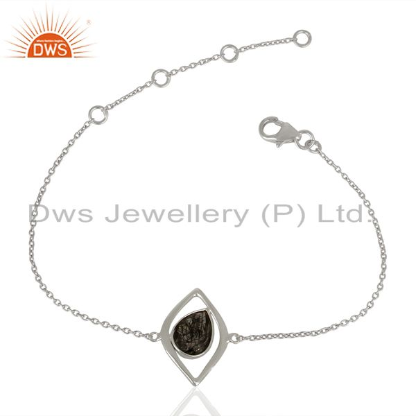 Sterling fine silver black rutile gemstone chain bracelet supplier