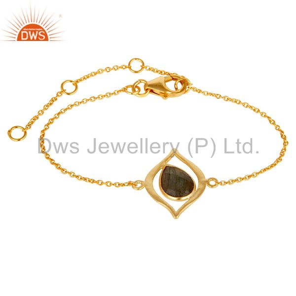 18 Carat Yellow Gold Plated Solid Sterling Silver Labrodorite Chain Bracelet